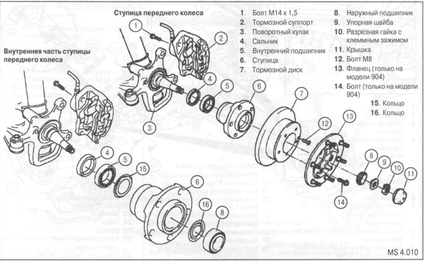 Схема передней ступицы матиз