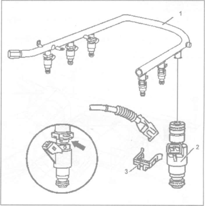 11.8 Снятие и установка топливного коллектора и форсунок в сборе