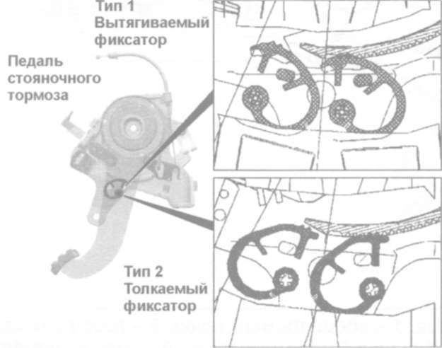 20.8.3 Снятие и установка тросов привода стояночного тормоза