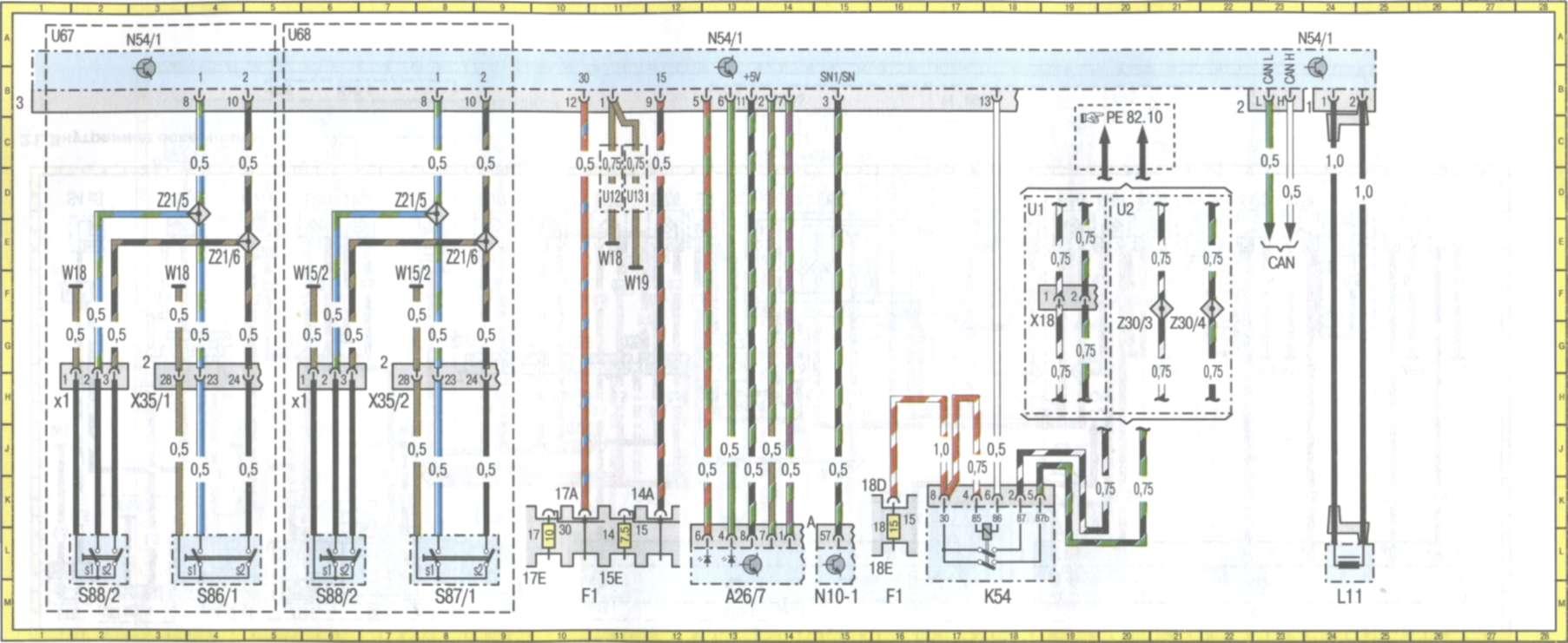 Цветные электросхемы автомобиля Е класса Мерседес...  Обозначения и расшифровка схем Мерседес.  Начало.
